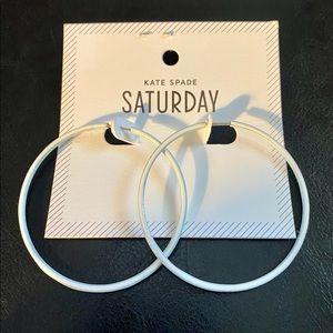 Kate Spade Saturday white hoop earrings